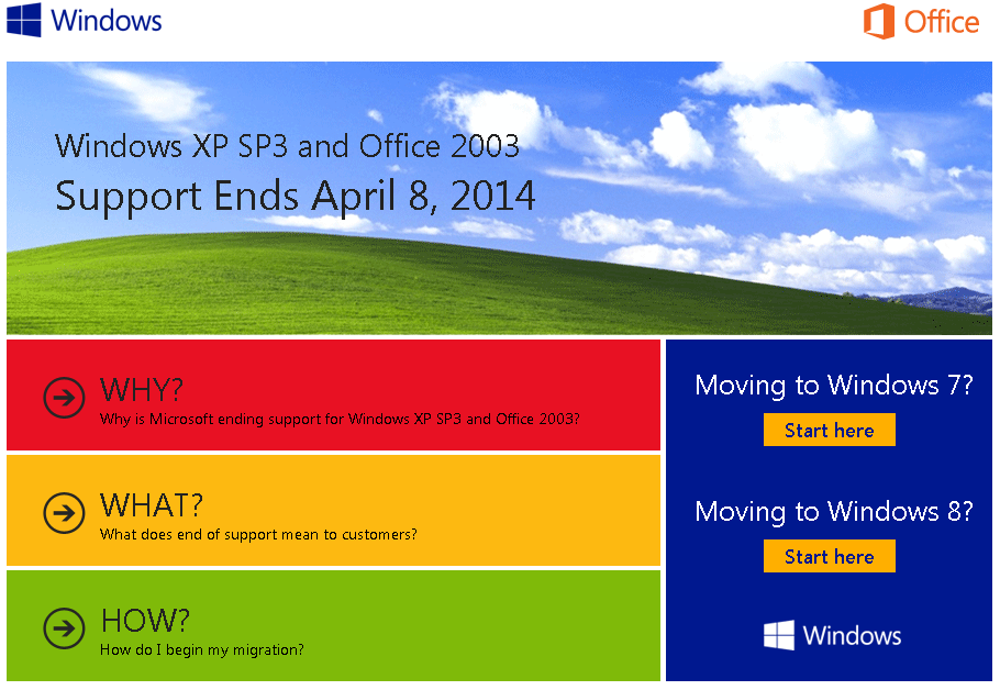 Microsoft Ends Support of Windows XP, Office 2003 in 2014!